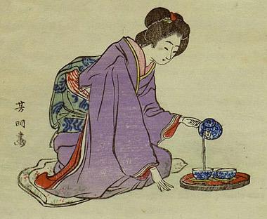 Traditionell japanische Zubereitung von Grüntee