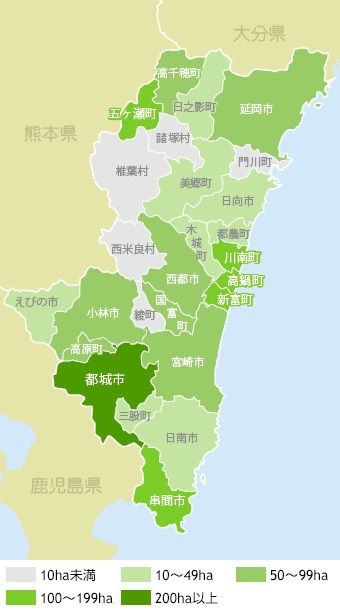 Teeanbauregionen in Miyazaki markiert nach Anbaufläche (ha)